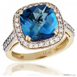10k Yellow Gold Diamond Halo London Blue Topaz Ring Cushion Shape 10 mm 4.5 ct 1/2 in wide