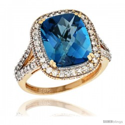 10k Yellow Gold Diamond Halo London Blue Topaz Ring Checkerboard Cushion 12x10 4.8 ct 3/4 in wide