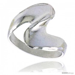 Sterling Silver Freeform Swirl Ring Polished finish 5/8 in wide