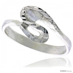 Sterling Silver Freeform Wave Ring Polished finish 3/8 in wide