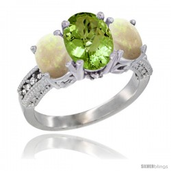 10K White Gold Ladies Natural Peridot Oval 3 Stone Ring with Opal Sides Diamond Accent