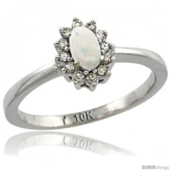 10k White Gold Diamond Halo Opal Ring 0.25 ct Oval Stone 5x3 mm, 5/16 in wide
