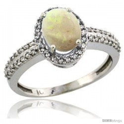 10k White Gold Diamond Halo Opal Ring 1.2 ct Oval Stone 8x6 mm, 3/8 in wide