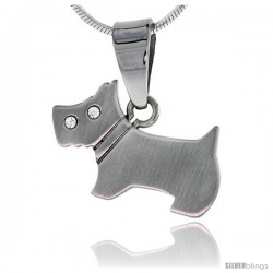 Stainless Steel Scottish Terrier Scottie Dog Pendant 3/14 in (20 mm), w/ 30 in Chain