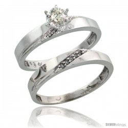 10k White Gold Ladies' 2-Piece Diamond Engagement Wedding Ring Set, 1/8 in wide -Style 10w115e2