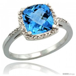 Sterling Silver Diamond Natural Swiss Blue Topaz Ring 2.08 ct Cushion cut 8 mm Stone 1/2 in wide