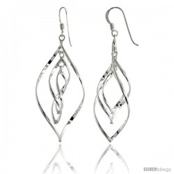 Sterling Silver Pear Shape Wire Wrap Earrings, 1 1/2 in