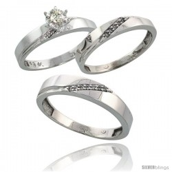 10k White Gold Diamond Trio Wedding Ring Set His 4.5mm & Hers 3.5mm -Style 10w115w3