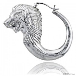 Sterling Silver High Polished Large Lion Head Earrings
