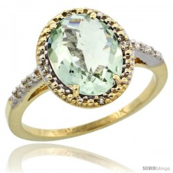 10k Yellow Gold Diamond Green-Amethyst Ring 2.4 ct Oval Stone 10x8 mm, 1/2 in wide -Style Cy902111