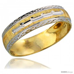 10k Gold Ladies' Wedding Band Ring Diamond-cut Pattern Rhodium Accent, 3/16 in. (4.5mm) wide