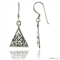 Sterling Silver Celtic Triquetra Dangle Earrings, 1 5/16 in tall
