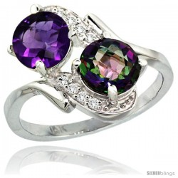 14k White Gold ( 7 mm ) Double Stone Engagement Amethyst & Mystic Topaz Ring w/ 0.05 Carat Brilliant Cut Diamonds & 2.34 Carats