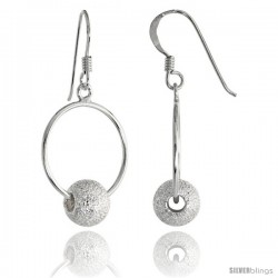Sterling Silver Stardust Bead Earrings, 1 7/16 in