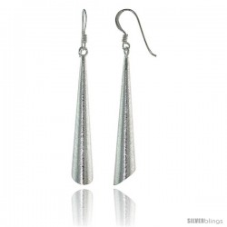 Sterling Silver Elliptical Cone Earrings Crystallized Finish, 1 3/4 in