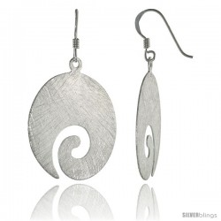 Sterling Silver Swirl Earrings Crystallized Finish, 1 1/8 in