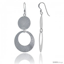 Sterling Silver Circles Earrings Crystallized Finish, 1 in