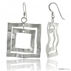 Sterling Silver Crinkled Squares Earrings Crystallized Finish, 1 3/16 in
