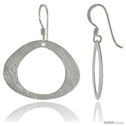 Sterling Silver Oval Earrings Crystallized Finish, 3/4 in