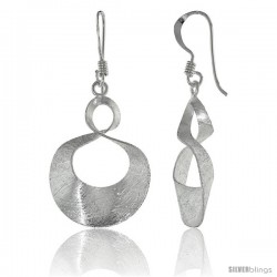 Sterling Silver Figure 8 Earrings Crystallized Finish, 1 in