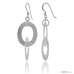 Sterling Silver Double Oval Earrings Crystallized Finish, 1 3/8 in