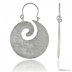 Sterling Silver Swirl Earrings Crystallized Finish, 1 1/8 in -Style Ted219
