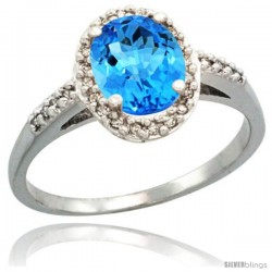 Sterling Silver Diamond Natural Swiss Blue Topaz Ring Oval Stone 8x6 mm 1.17 ct 3/8 in wide