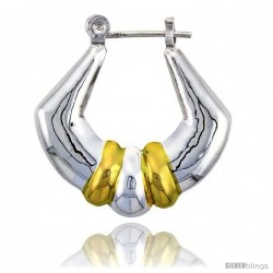 "Sterling Silver Snap-down-post Hoop Earrings, w/ 2-Tone Gold Plate Accent, 1 1/16"" (27 mm) tall"