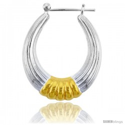 "Sterling Silver Snap-down-post Hoop Earrings, w/ 2-Tone Gold Plate Accent, 1 3/16"" (30 mm) tall -Style Teg109"