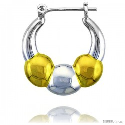"Sterling Silver Snap-down-post Hoop Earrings, w/ 2-Tone Gold Plate Accent, 1 1/8"" (28 mm) tall"