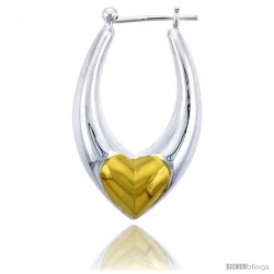 """Sterling Silver Snap-down-post Hoop Heart Earrings, w/ Gold Plated Heart Accent, 1 7/16"""" (36 mm) tall"""