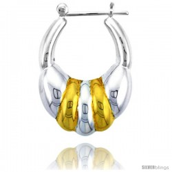 "Sterling Silver Snap-down-post Hoop Earrings, w/ 2-Tone Gold Plate Accent, 1 3/16"" (30 mm) tall -Style Teg112"