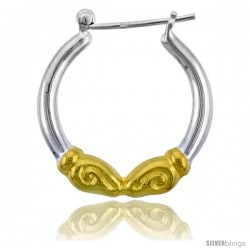 "Sterling Silver Snap-down-post Rams Head Hoop Earrings, w/ 2-Tone Gold Plate Accent, 1 1/8"" (28 mm) tall"