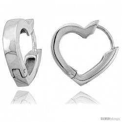 Sterling Silver Huggie Earrings Heart-shaped Flawless Finish, 11/16 in