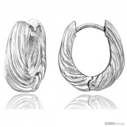 Sterling Silver Huggie Earrings U-shaped Textured Flawless Finish, 11/16 in