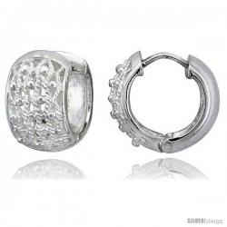 Sterling Silver Huggie Earrings Floral Flawless Finish, 5/8 in