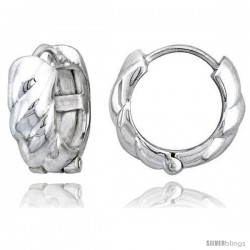 Sterling Silver Huggie Earrings Rope-designed Flawless Finish, 11/16 in