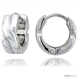 Sterling Silver Huggie Earrings Crisscross Flawless Finish, 5/8 in