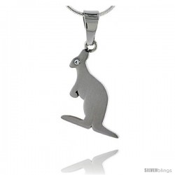 Stainless Steel Kangaroo Pendant w/ Crystal Eye, 1 in tall, w/ 30 in Chain