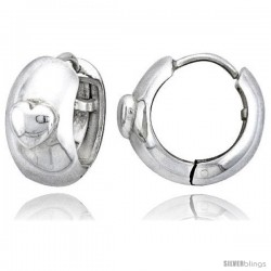 Sterling Silver Huggie Earrings w/ Heart-shaped Accent Flawless Finish, 11/16 in