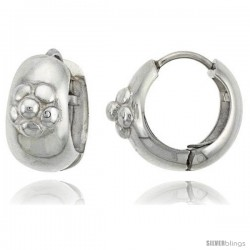 Sterling Silver Huggie Earrings w/ Flower Accent Flawless Finish, 11/16 in