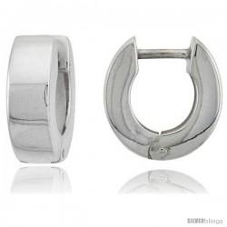 Sterling Silver Huggie Earrings U-Shape Flawless Finish, 1/2 in -Style Teh202