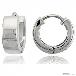 Sterling Silver Huggie Earrings Round Shape Flawless Finish, 1/2 in -Style Teh207
