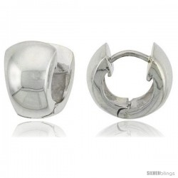 Sterling Silver Huggie Earrings Round Shape Flawless Finish, 5/16 in