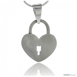 Stainless Steel Heart Padlock Pendant 7/8 in tall, w/ 30 in Chain