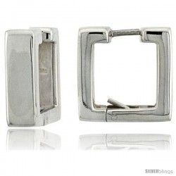 Sterling Silver Huggie Earrings Square Shape Flawless Finish, 9/16 in