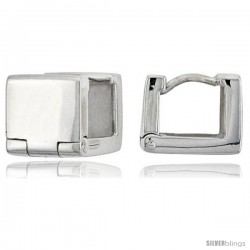 Sterling Silver Huggie Earrings Square Shape Flawless Finish, 3/8 in