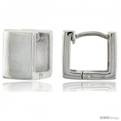 Sterling Silver Huggie Earrings Square Shape Flawless Finish, 7/16 in