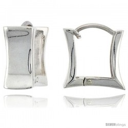 Sterling Silver Huggie Earrings Square Shape Flawless Finish, 9/16 in -Style Teh215