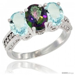 14K White Gold Natural Mystic Topaz & Aquamarine Sides Ring 3-Stone Oval 7x5 mm Diamond Accent